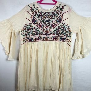 Umgee Embroidered Long Peasant Blouse/ Dress NWT